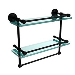 Allied Brass DT-2TB/16-GAL-BKM 16-Inch Gallery Double Glass Shelf with Towel Bar, Matte Black