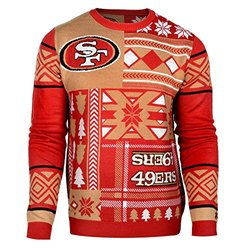 NFL San Francisco 49Ers Patches Ugly Sweater, Red, Large