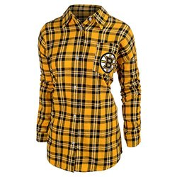 NHL Boston Bruins Women's Wordmark Basic Flannel Shirt - Yellow - Size: M