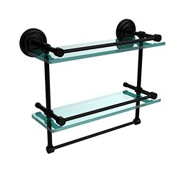 Allied Brass QN-2TB/16-GAL-BKM 16-Inch Gallery Double Glass Shelf with Towel Bar, Matte Black