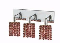 Elegant Lighting 1283W-O-R-BO/RC Mini 8-Inch High 3-Light Wall Sconce, Chrome Finish with Bordeaux (Red) Royal Cut RC Crystal