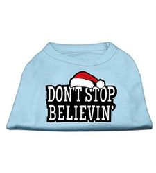 """Mirage Pet """"Don't Stop Believin"""" Ptinted Shirts - Baby/Blue - Size: 16"""