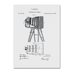 Trademark Fine Art Photographic Camera Patent 1885 White by Claire Doherty, 24x32-Inch