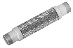 "Mason MN-1""x24"" Stainless Steel 304 Braided Hose Assembly, 1"" Carbon Steel NPT Male Threaded Nipple Connection, 30"" Hg Vacuum Rating, 580 PSI Maximum Pressure, 24"" Length, 1"" ID"