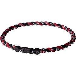 Phiten Tornado Twisted Titanium Necklace, Black, Maroon, 22