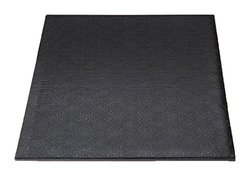 """W PACKAGING WPWDW25B 1/4"""" Thick, Quarter-Sheet Wrap Around/Fold Over Cake Pad, with Hand Wrapped Coated Embossed Foil Paper, 13.5""""x9"""", Black (Pack of 50)"""