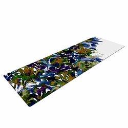 "KESS InHouse Ebi Emporium ""Floral Cascade 4"" Yoga Exercise Mat - Purple/Green"