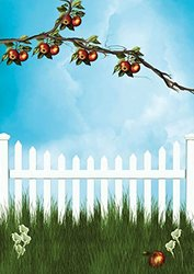 JP London uStrip Peel and Stick Mural MD4042PS Apple Tree Summer Picket Fence Removable Full Wall Mural, 10.5-Feet by 8.5-Feet