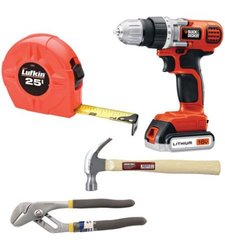 Do It Yourself Tool Kit with Drill / Hammer / Pliers / Tape Measure