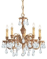 Crystorama-Six Light Olde Brass Up Chandelier-2706-OB-CL-SAQ