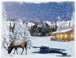 Radiance Ohio Wholesale Lighted Canvas Wall Art - Winter Lodge