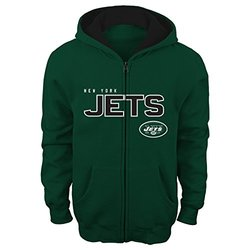 """NFL New York Jets Boy's 4-7 """"Stated"""" Full Zip Hoodie - Hunter - Size: S"""