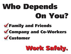"Accuform Signs PST119 Safety Awareness Poster, ""WHO DEPENDS ON YOU?  WORK SAFELY."", 18"" Length x 24"" Width, Laminated Flexible Plastic"