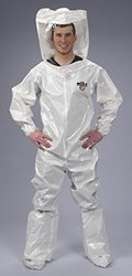Lakeland ChemMax 2 TES Taped Seam Encapsulated Suit with Flat Back, Disposable, Elastic Cuff, Medium, White (Case of 3)