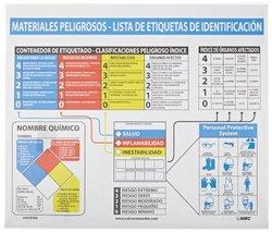 "NMC HMCP400 Hazardous Materials Poster, Legend ""Materials Peligrosos Lista De Etiquetas De Identification"", 26"" Length x 22"" Height, Laminated Paper, Black/Blue/Red/Yellow on White"