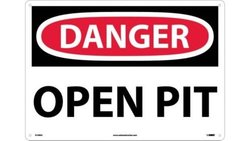 "NMC D109AC OSHA Sign, Legend ""DANGER - OPEN PIT"", 20"" Length x 14"" Height, Aluminum, Black/Red on White"