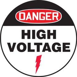 """Accuform Signs MFS718 Slip-Gard Adhesive Vinyl Round Floor Sign, Legend """"DANGER HIGH VOLTAGE"""", 17"""" Diameter, Red/Black on White"""