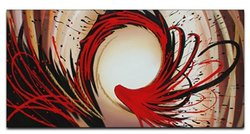 Design Art OL146s Splash Abstract Oil Painting, 32 by 16-Inch, Gold/Red