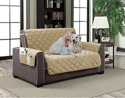 "Home Dynamix Slipcovers: All Season Quilted Microfiber Pet Furniture Couch Protector Cover - Beige Natural, 110"" x 70"" (Sofa)"