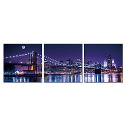 "FURINNO Senic 3 Panel Canvas on Wood Frame: NYC-City Never Sleeps/60""x20"""