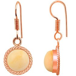 Charming 5 70 Carat Genuine Pink Opal Earring in Brass