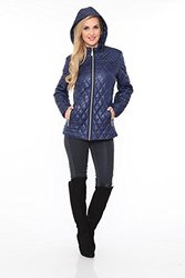 White Mark Women's Puffer Coat - Navy - Size: Medium