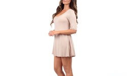Women's Three Quarter Sleeve T-Shirt Dress - Mocha - Size: Large