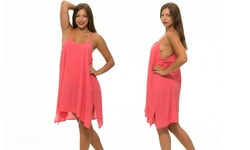 Women's Pullover Sheer Dress w/ Overlay - Fuschia - Size: Large (LSD9724)