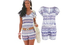 Women's Feather-Print Romper - Size: Large