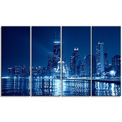Design Art Blue Chicago Skyline Cityscape Photo Metal Wall Art - 4 Panels