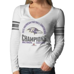 NFL Baltimore Ravens 2012 AFC Champs Women's Long Sleeve Tee - White - X-L