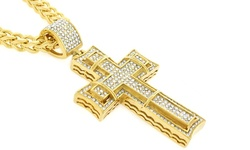 Men's 18KT Micro Pave Studded Double Cross Pendants - Gold