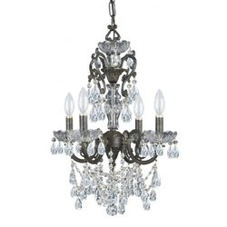 Crystorama Lighting 5194-EB-CL-SAQ Chandelier with Swarovski Spectra Crystals, English Bronze