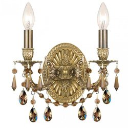Crystorama Lighting 5522-AG-GT-MWP Wall Sconce with Golden Teak Hand Polished Crystals, Aged Brass