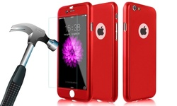 InTech 360-Deg. Full Body Case w/ Tempered Glass for iPhone 6/6S - Red