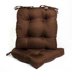 "16""x16"" Tufted U-Shaped Tie Back Chair Cushion Set - Chocolate - Pack of 2"