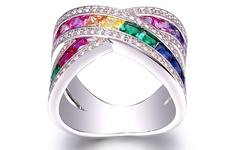 Swarovski Women's 18K White Gold Plated Rainbow Crystal X Ring - Size: 10