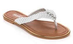 Rasolli Women's Open-air Flag-5 Thong Sandals - Silver - Size: 8.5