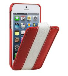 Melkco Leather Case for Apple iPhone 5/5S - Red/White (APIPO5LCJDMRDWELC)