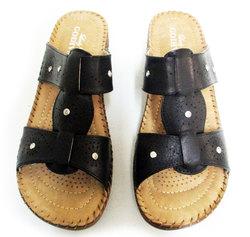 Lady Godiva 2402-60 Women's Wedge Sandals - Black - Size: 5.5