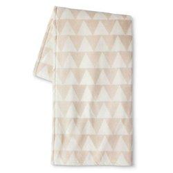 Room Essentials Micromink Printed Blanket  - Ivory/Tan