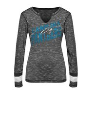 NFL Women's Carolina Panthers Long Sleeve Tee - Black Staccato/Black / XL