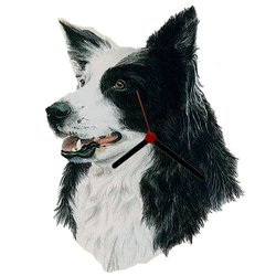 Haddington Green Equestrian Art Border Collie Head Shaped Wall Clock