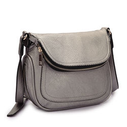 Dasein Women's Front Flap Messenger Bag - Pewter - Size: One