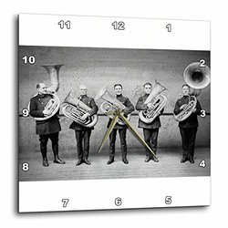 3dRose dpp_6748_2 Tuba Cops Grayscale Wall Clock, 13 by 13-Inch