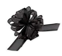 "Bags & Bows 12 Pack Organza 4"" Pull Bows - Black"
