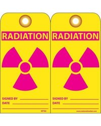 "NMC RPT85G ""RADIATION"" Accident Prevention Tag with Brass Grommet, Unrippable Vinyl, 3"" Length, 6"" Height, Red/Pink on Yellow (Pack of 25)"