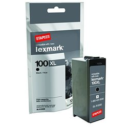 Staples Remanufactured Inkjet Cartridge, Lexmark 100XLA (SIL-R100XB), High Yield, Black