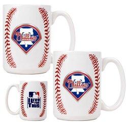 MLB Philadelphia Phillies Two Piece Ceramic Gameball Mug Set - Primary Logo