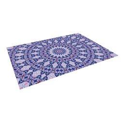 """Kess InHouse Iris Lehnhardt """"Kaleidoscope Blue"""" Circle Blue Outdoor Floor Mat/Rug, 5 by 7-Feet"""
